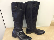 BORN CROWN 9 Black Distressed Leather ROXIE Tall Riding Equestrian Boots D15022