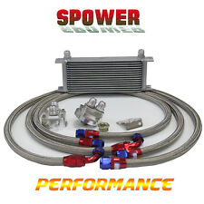 15Row AN10 Engine Oil Cooler Silver + 3/4*16 & M20 Filter Relocation Adapter Kit