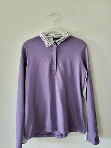 Kerrits Long Sleeve Riding Shirt Size Large Purple Geometric Magnetic Collar