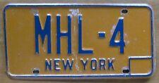 New York 1980 VANITY License Plate MHL-4