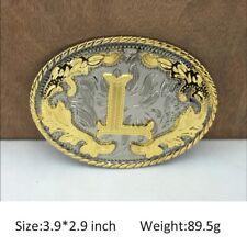 Initial L Western Cowboy Texas Rodeo Gold Steel Belt Buckle Vintage Mens Jewelry