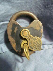 Vintage M&W Lock Company Heart Padlock w/ Original Key