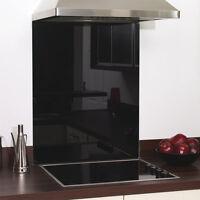 Black Glass Splashback Heat Resistant - Toughened 600 x 650mm, 60 x 65cm