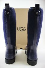 NIB UGG Size 7 Women's Navy Wool Blend Shearling Footbed REIGNFALL Rain Boot
