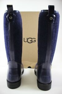 NIB UGG Size 7 Women's Navy Wool Blend Shearling Footbed REIGNFALL Rain Boot