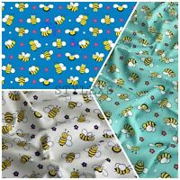 Bee's printed Polycotton Dress fabric Craft  NHS facemask bunting 110 cm wide