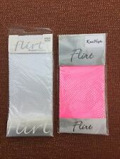 2 Pairs Flirt Fashion Fishnet Knee Highs, One Size Nylon/Lycra, White and Pink