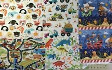 Children's Boy's Dinosaur Trucks Fabric Patchwork or Making Face Mask 5 pieces