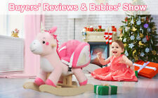 Pink Plush Unicorn Wooden Rocking Horse Toy Toddler Baby Ride On With Seat Chair