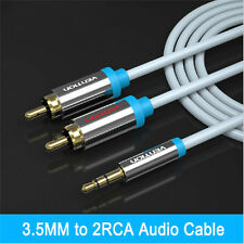 24K Gold-Plated Port 3m 3.5mm Jack to 2 x RCA Cable (Twin Phono) Audio Lead Long