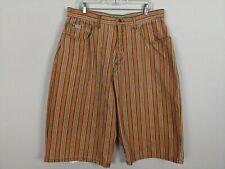 Vintage Cross Colours mens striped orange green shorts size 38