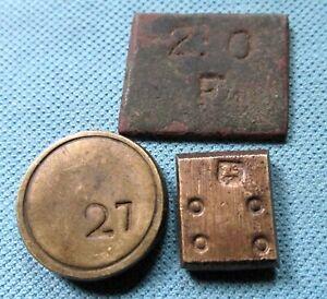Lot 3 1700s Georgian Coin Weights Moidore Florin 4 Pennyweight Lion Counterstamp