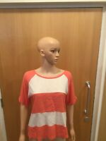River Island Coral & White Short Sleeve Thin Top - UK Ladies Size 10