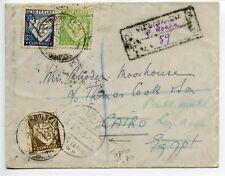 Thomas Cook Portugal 1933 reg cover Praia de Rocha to Cairo London - forwarded