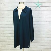 Soft Surroundings Navy Blue V-Neck Pullover Collared Tunic Top NWOT Womens XL
