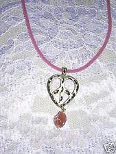 HAND ENGRAVED PEWTER HEART SHAPED PEACE SIGN  PINK GLASS DANGLE PENDANT NECKLACE