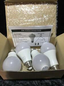 Motion Sensor Light Bulb 100w LED A19 E26 Cool White Bulbs For Outdoor (4 Pack)