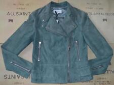 Reiss Grace Suede Biker Jacket in Moss Size UK 10