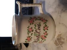 "Enesco 1979 ""With Love"" gift Coffee Mug Handle Gold Trim Floral Cup Rare b42"