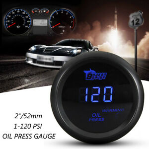 2'' 52mm 120PSI  Blue LED Digital Oil Pressure Gauge + Sensor Car Motorcycle