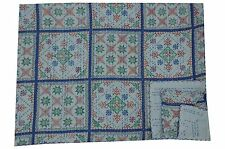 Indian White Ikat Kantha Quilt Bedspread Cotton Handmade Vintage Ethnic Blanket