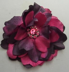 Dusky Deep Red Bejewelled Flower Hair Clip / Brooch with Diamante centre NEW