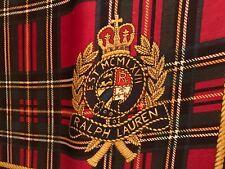 Vintage Ralph Lauren 90's Silk Scarf Plaid Crest Navy/Red/Gold Rope Trim - Rare