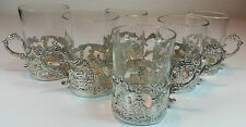 ANTIQUE SET OF 6 FINE SILVER EMBOSSED VICTORIAN GLASS SPIRIT HOLDERS 1890