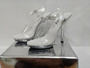 "NEW~Sz7 Ellie M Brook 5"" Heel Clear Sandal Platform Competition Fitness Pageant"