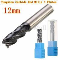 12MM Tungsten Carbide End Mill 4 Flute Shank Drill HRC50 75MM Length Flat Bottom