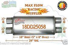"Max Flow Muffler 18"" Oval Body 2 1/2"" 2.5"" Pipe Dual/Dual 24"" OAL 18DD25058"