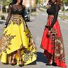 African Women Summer Boho Floral Print Long Dress High Waist Beach Maxi Skirt