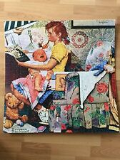 """Rockwell Saturday Eve Post Wall Art Mounted Completed Puzzle Babysitter 25""""x25"""""""