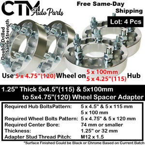 "4PC 1.25"" THICK 5x100 & 5x4.25"" TO 5x4.75"" WHEEL ADAPTER SPACER FIT TOYOTA VOLVO"