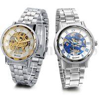Men Business Roman Numerals Skeleton Mechanical Automatic Wrist Watch Steel Band
