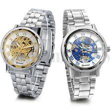Men Business Roman Numerals Skeleton Manual Mechanical Wrist Watch Steel Band