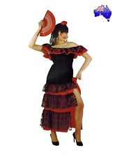 Flamenco Dance Womens Costume Spanish Mexican Dancer Fancy Dress Party 04A302