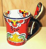 Traditional Rare Red Mexican Talavera Pottery Cup and Spoon Set