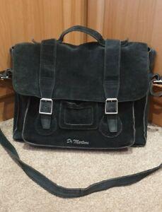 """Dr Martens 15"""" Black Suede/Leather Satchel/Bag"""