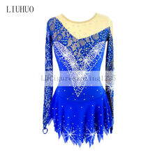 Figure Skating Dress Women's Girls' Ice Long sleeves Blue Rhythmic Gymnastics