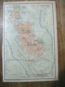 stampa antica MAPPA PIANTA CARTA TOPOGRAFICA CALABRIA CATANZARO 1928