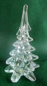 "Vintage ENESCO SOLID CRYSTAL GLASS CHRISTMAS /PINE TREE FIGURINE 7.5"" Tall."