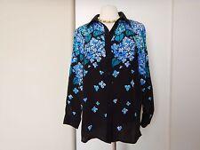 BOB MACKIE Silk Blue-Flowers Sequens Career Blouse Shirt Top Size M