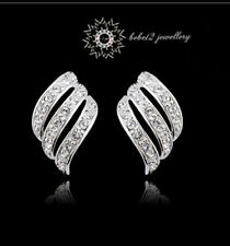 Simulated Diamond Angel's Wing Stud Earring//White gold/RE001S