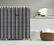 Gray Black White and Red Fish Fabric Shower Curtain
