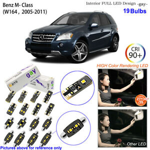 19 Bulbs Deluxe White LED Interior Light Kit For W164 2005-2011 Benz ML Class