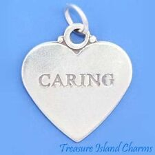 """CARING"" TWO-SIDED HEART .925 Solid Sterling Silver Charm Pendant"