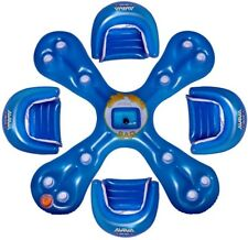 Pool Island Float 4-Person Sun Seat Inflatable Blue Finish with 12 Drink Holders
