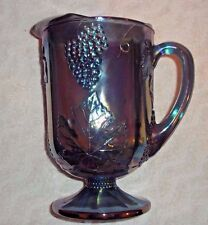 "Indiana Carnival Glass Pitcher Blue Iridescent Grape and Leaf Pattern 10 1/2"" T"