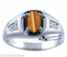Mens Tigers Eye & Diamond Ring 14K White Gold